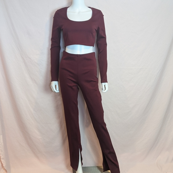 Fashion Nova Burgundy Long Sleeve Legging Set